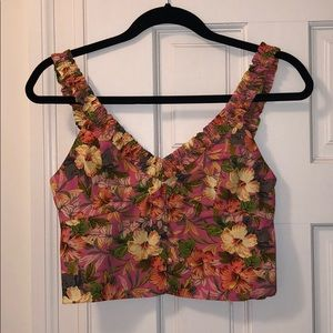 Pink Floral Zara Crop Top